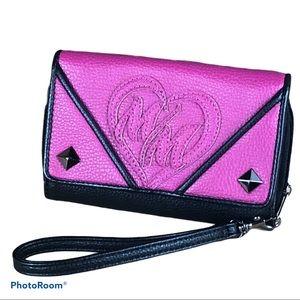 METAL MULISHA pink / black accordion style wallet
